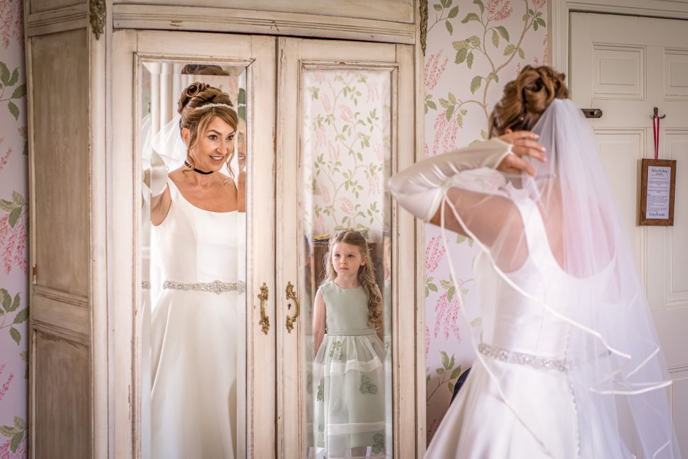 Bride getting ready with daughter at Silverholme Manor