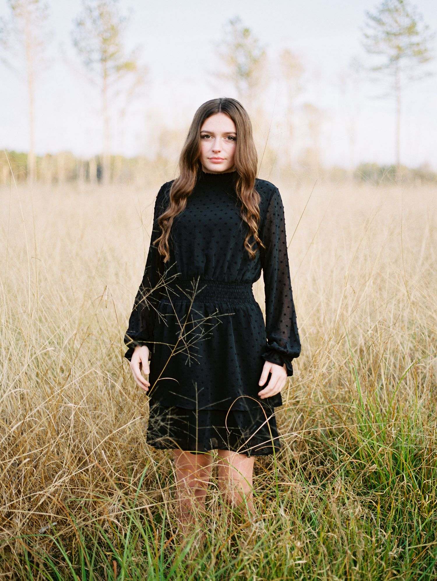 Louisiana senior portrait photography of a girl Franklinton High School student in an open field
