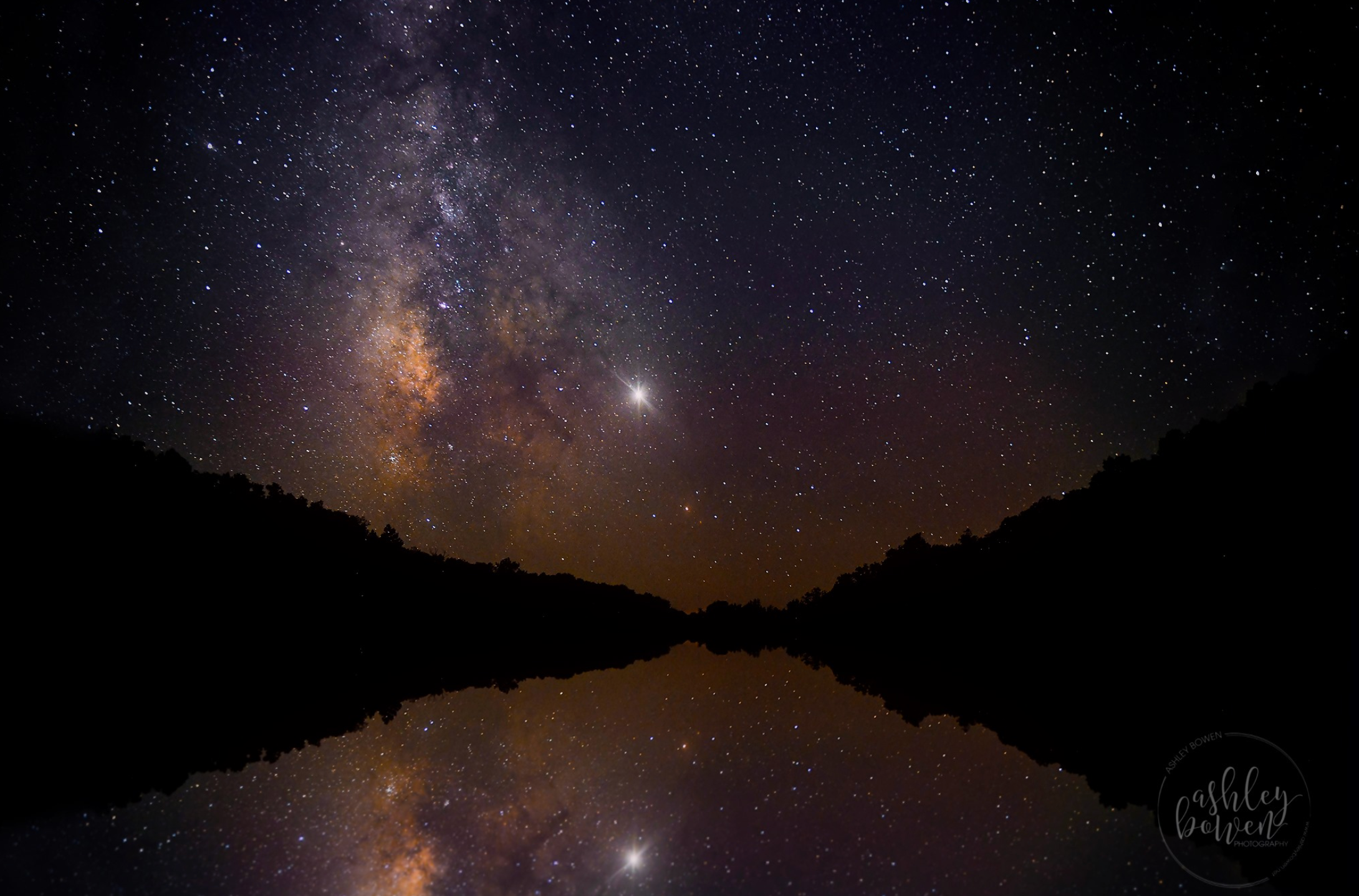 Loggers Lake in Missouri. I took this while we were camping off the grid! Saturn is the brightest object in the sky!