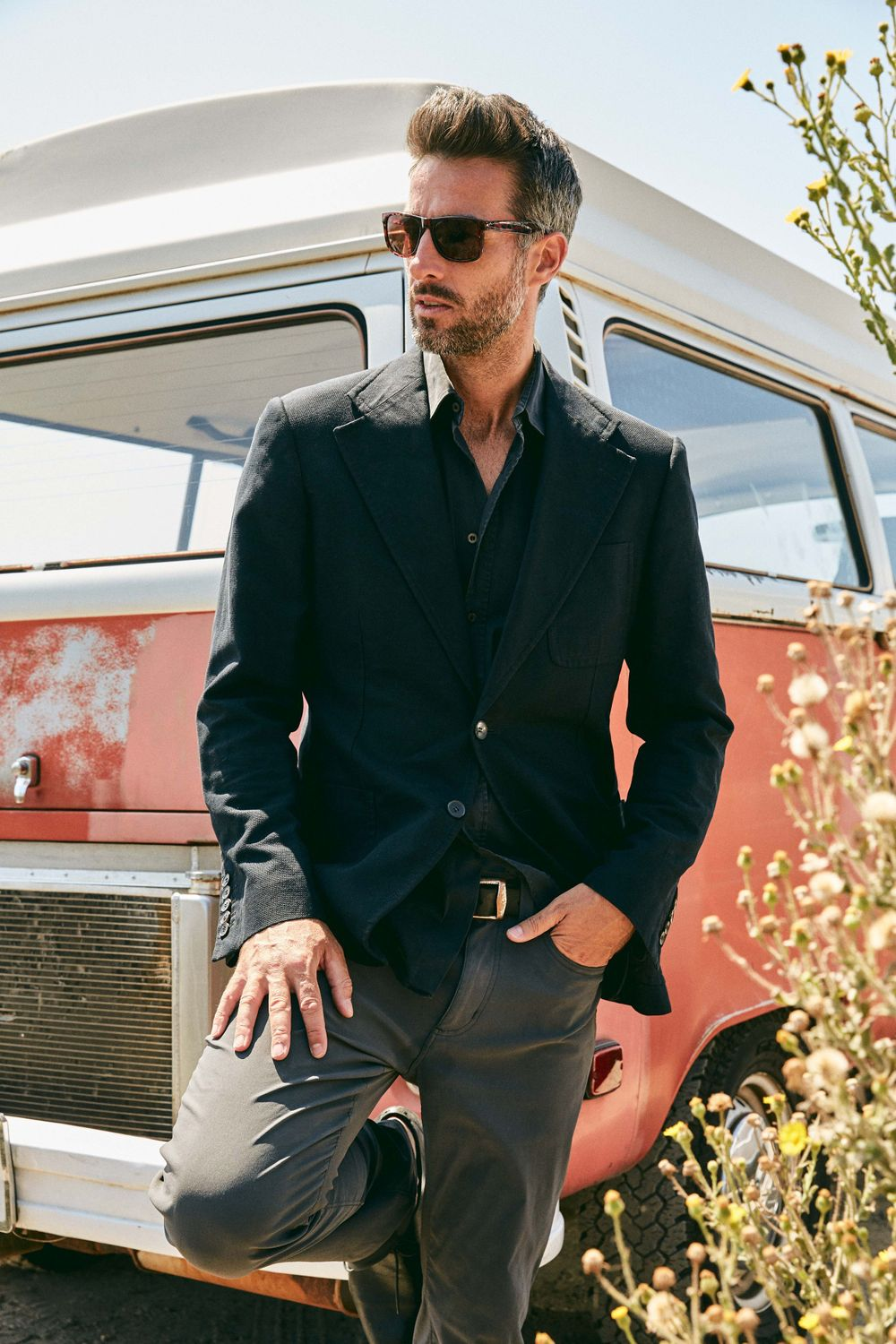 Model Colin Devitt from LA Models wearing RayBan's and Gucci suit jacket blazer Eddy Bauer pants El Matador State Beach