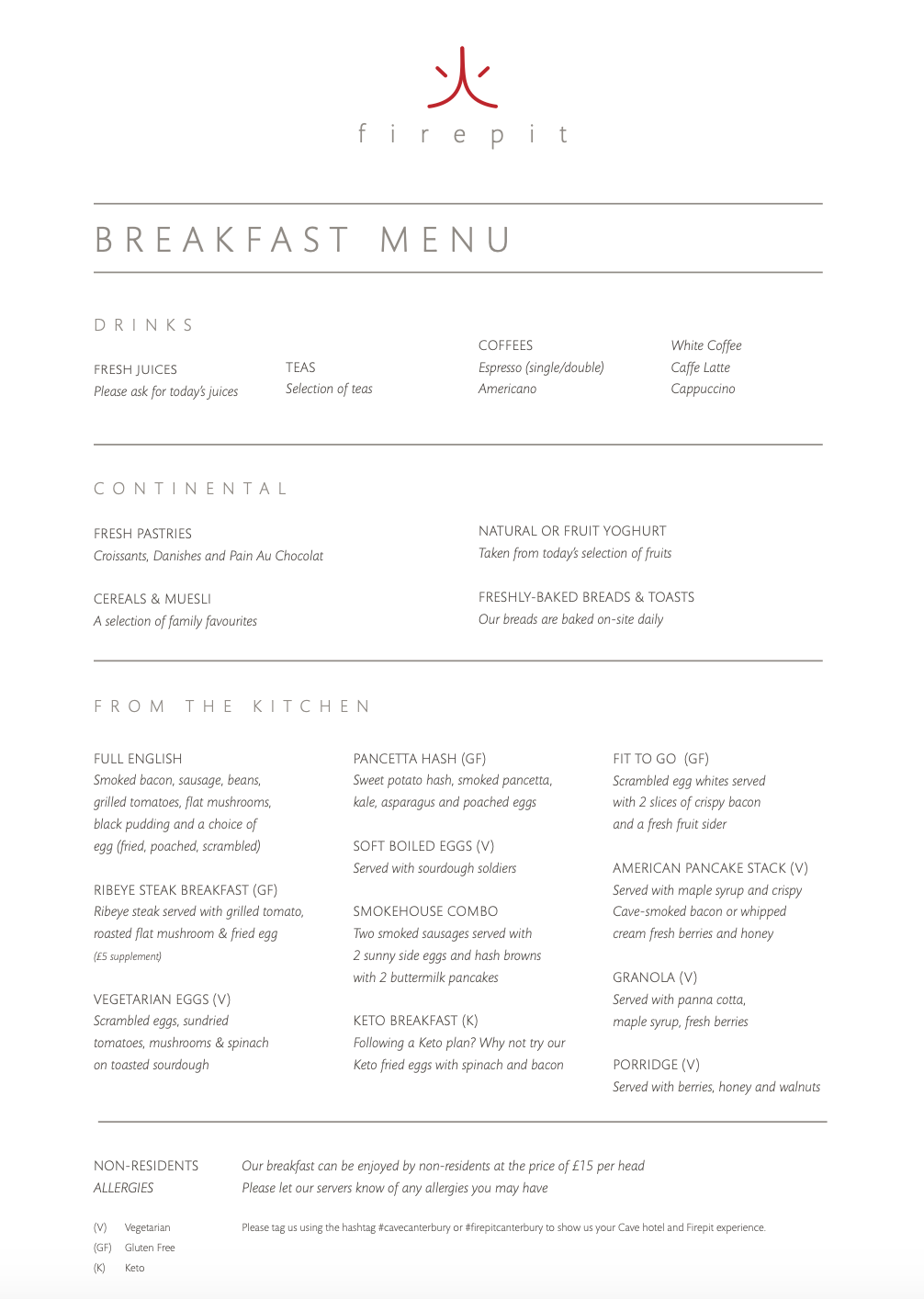 The fire pit restaurant at the cave hotel breakfast menus