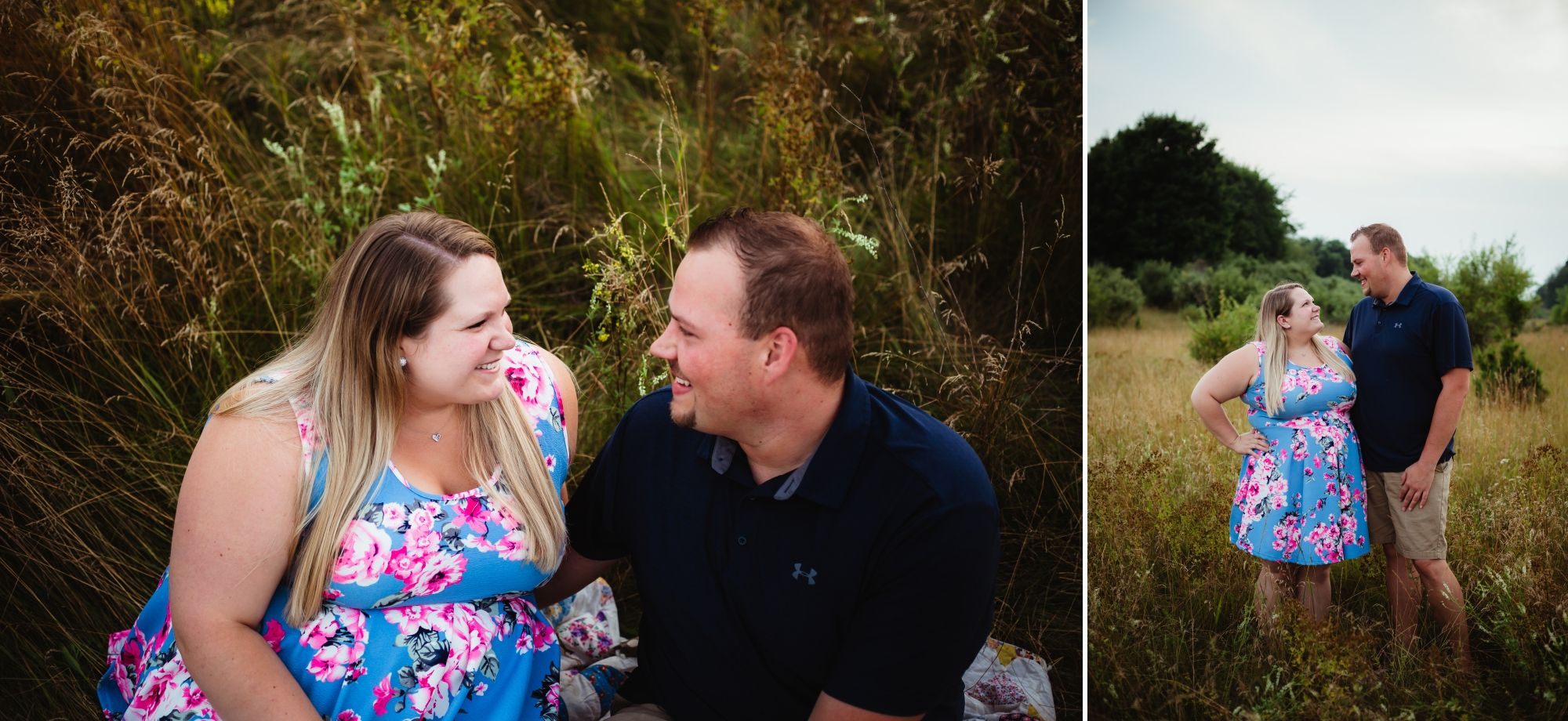 Photos of an engaged couple smiling at each other in a field. She wear a light blue and pink floral dress.