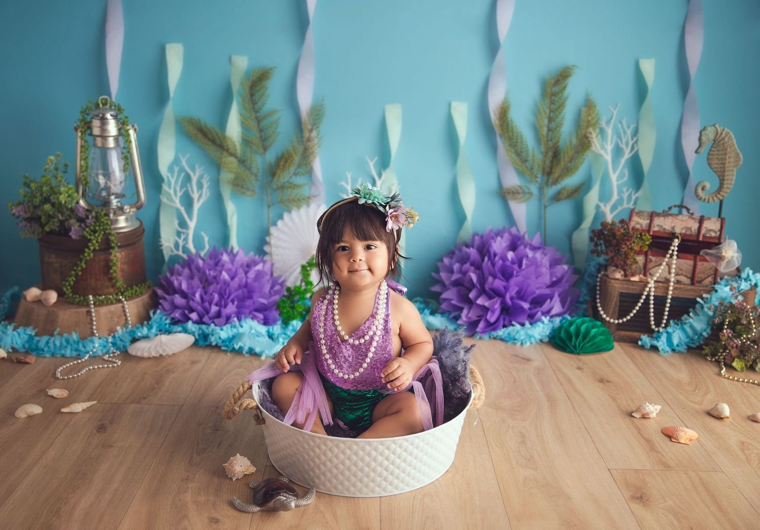 baby in tin bowl mermaid themed session treasure in the back