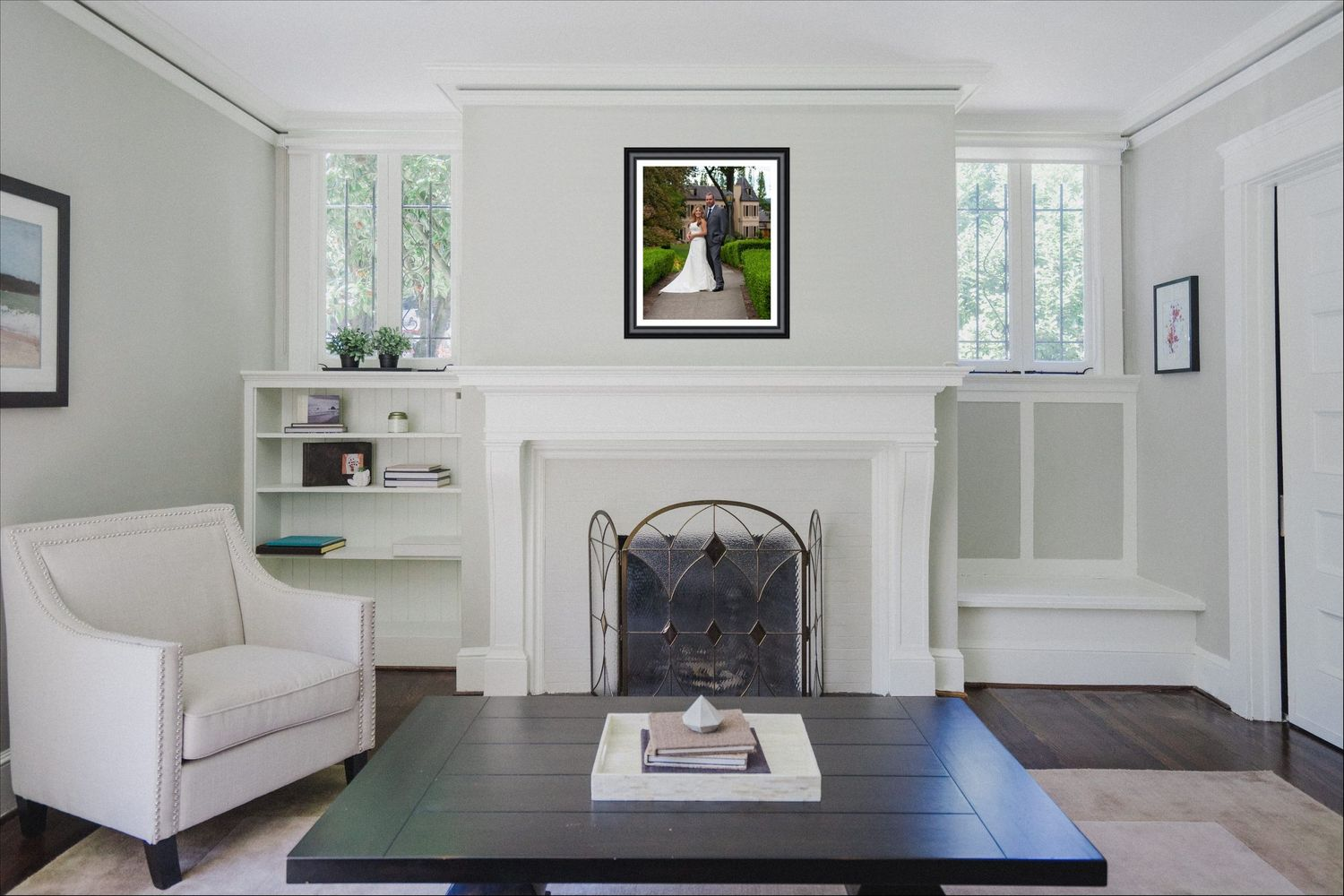image of room with framed portrait from jackie phairow photograpy