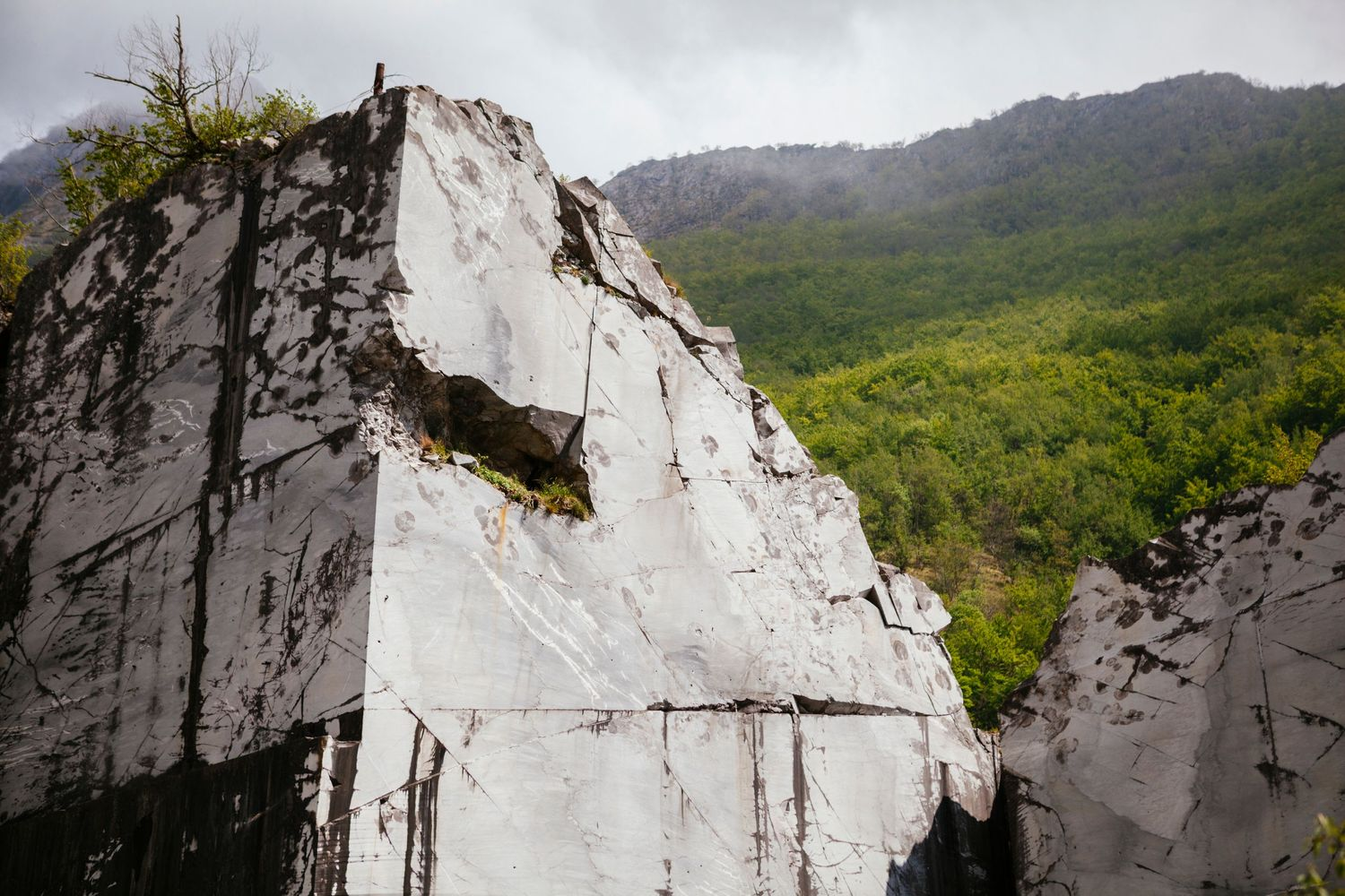 dissed marble mine in Apuan Alps Garfagnana Tuscany Italy