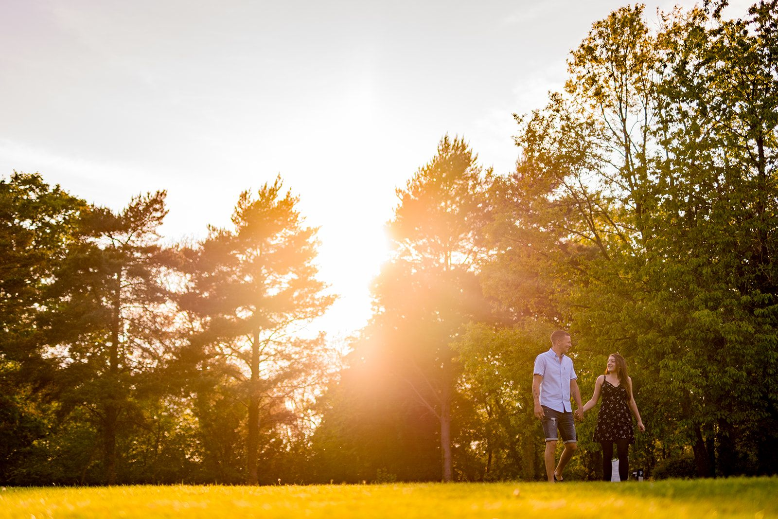 sunset engagement photos at Manor Farm