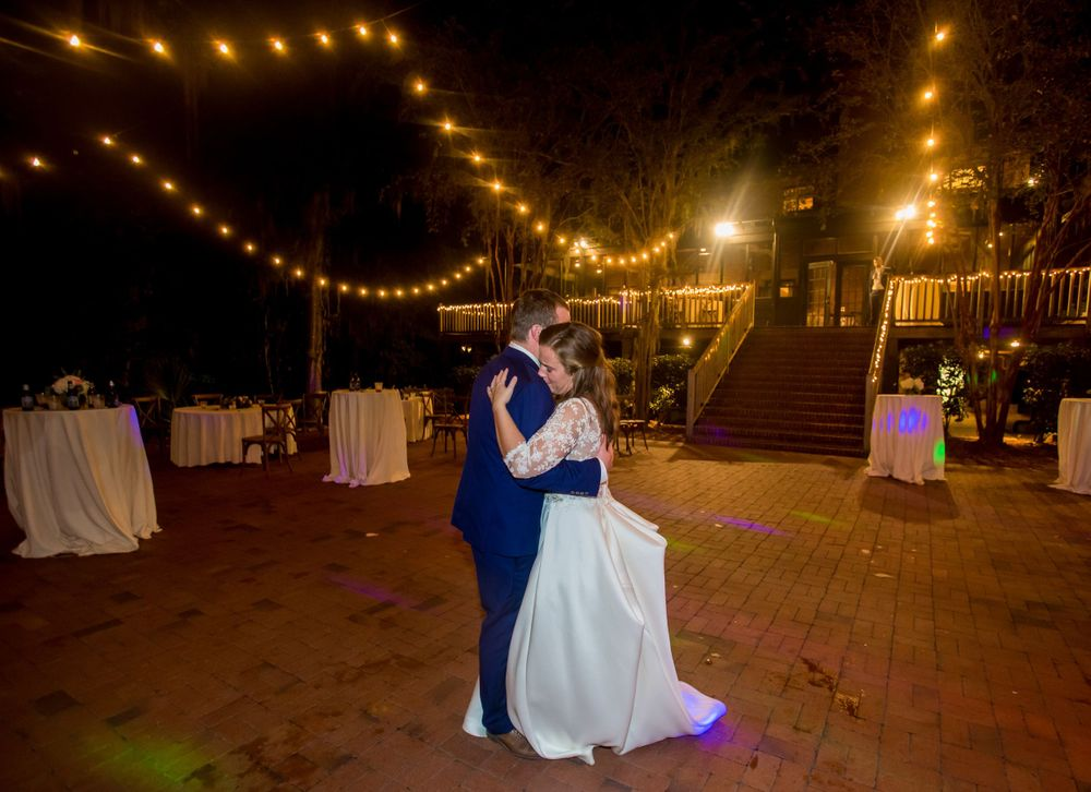 After their reception, bride Ashley and groom Paul dance alone at Millstone at Adams Pond in Columbia, SC