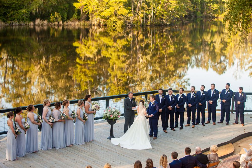 Bride Ashley and groom Paul have their wedding ceremony at Millstone at Adams Pond in Columbia, SC