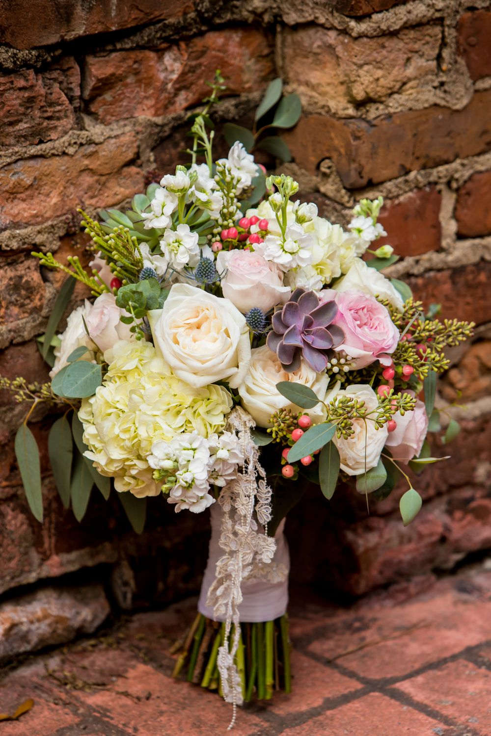 Bridal bouquet before a wedding ceremony wedding ceremony at Millstone at Adams Pond in Columbia, SC