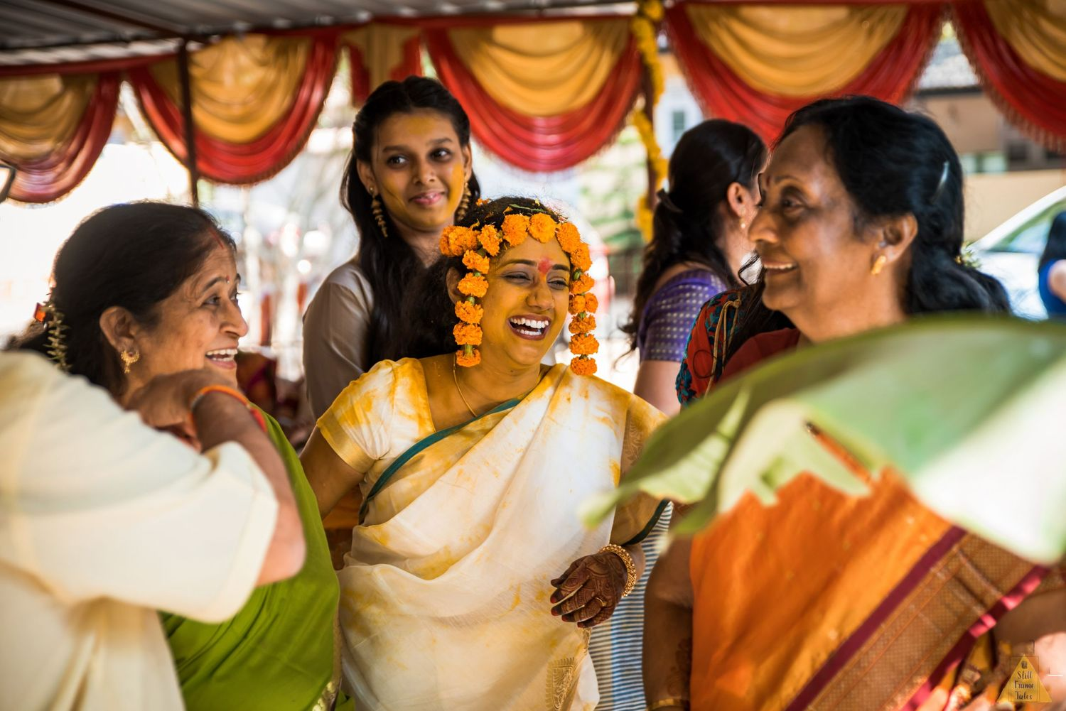 Bride having fun and enjoying with relatives