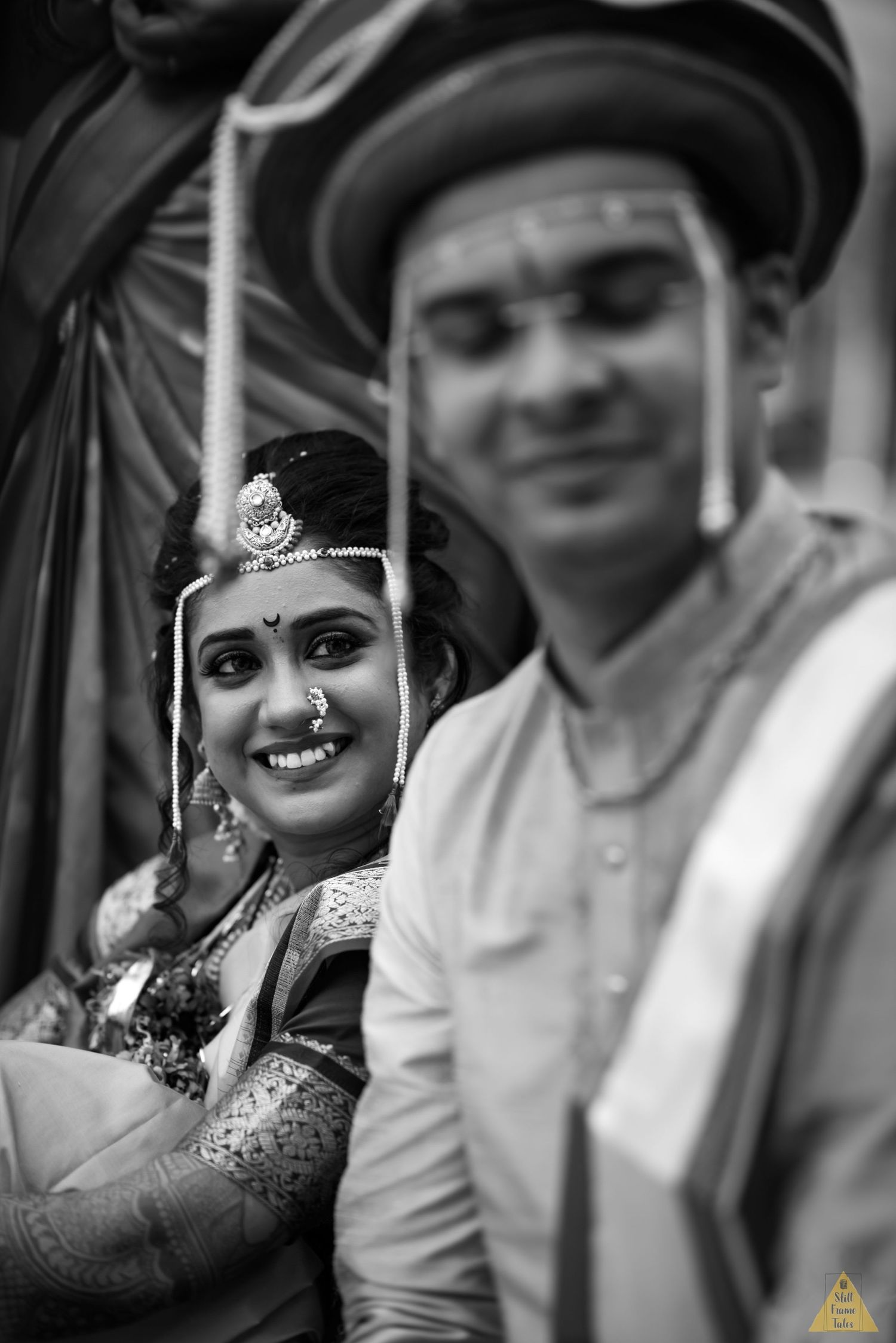 Bride & groom in a candid moment at a destination Marathi wedding