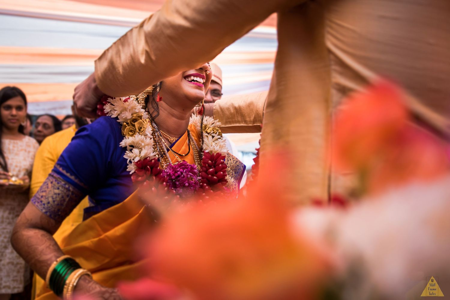 Abstract details of happy bride at her varmala ceremony