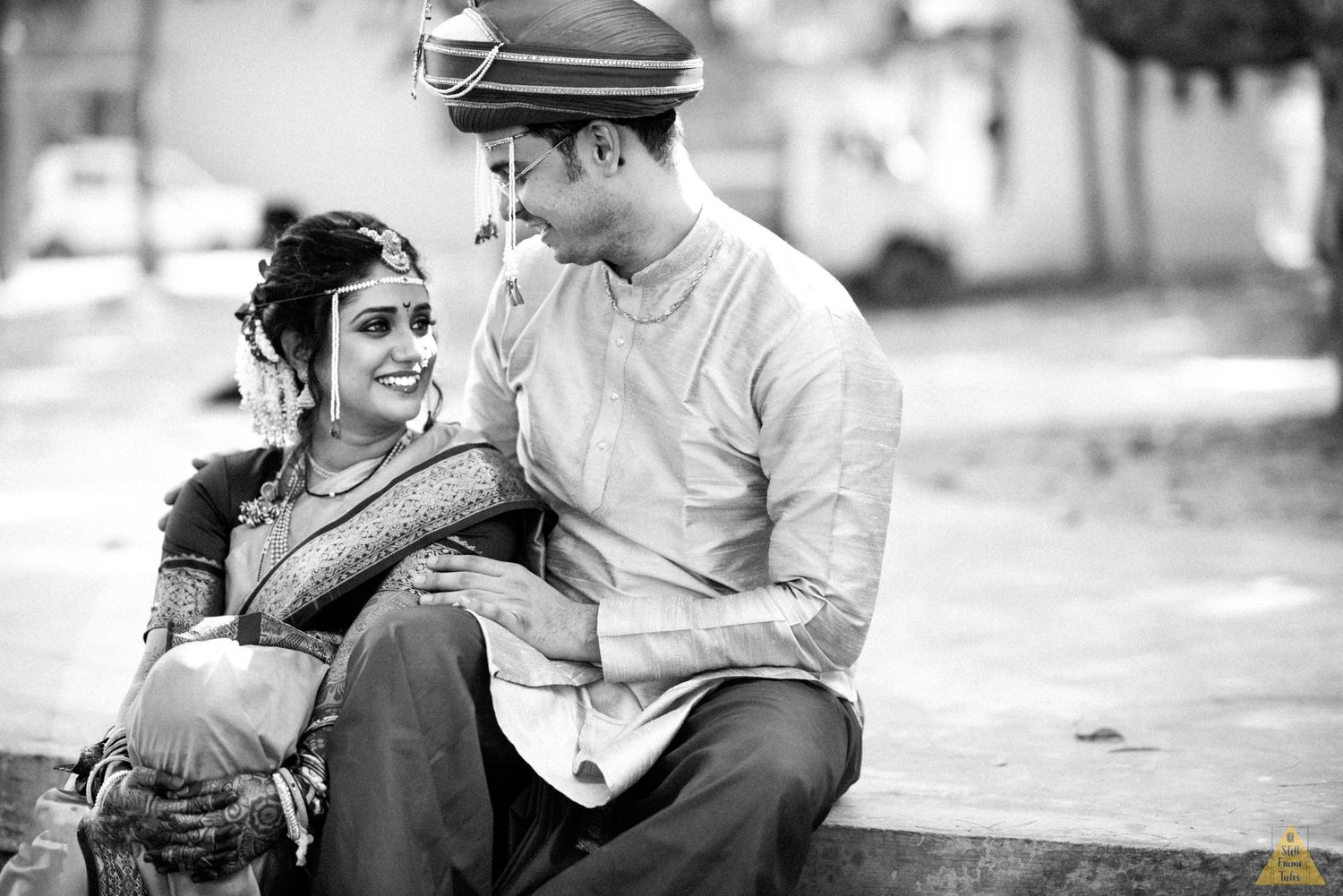 bride & groom sharing candid moment during couple shoot