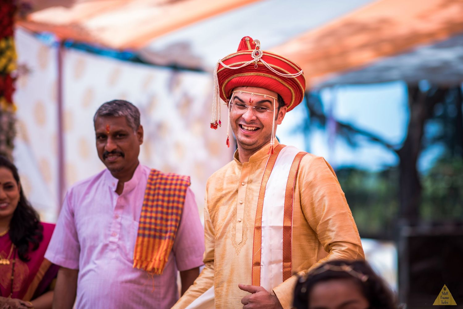 Groom's candid picture at his destination wedding