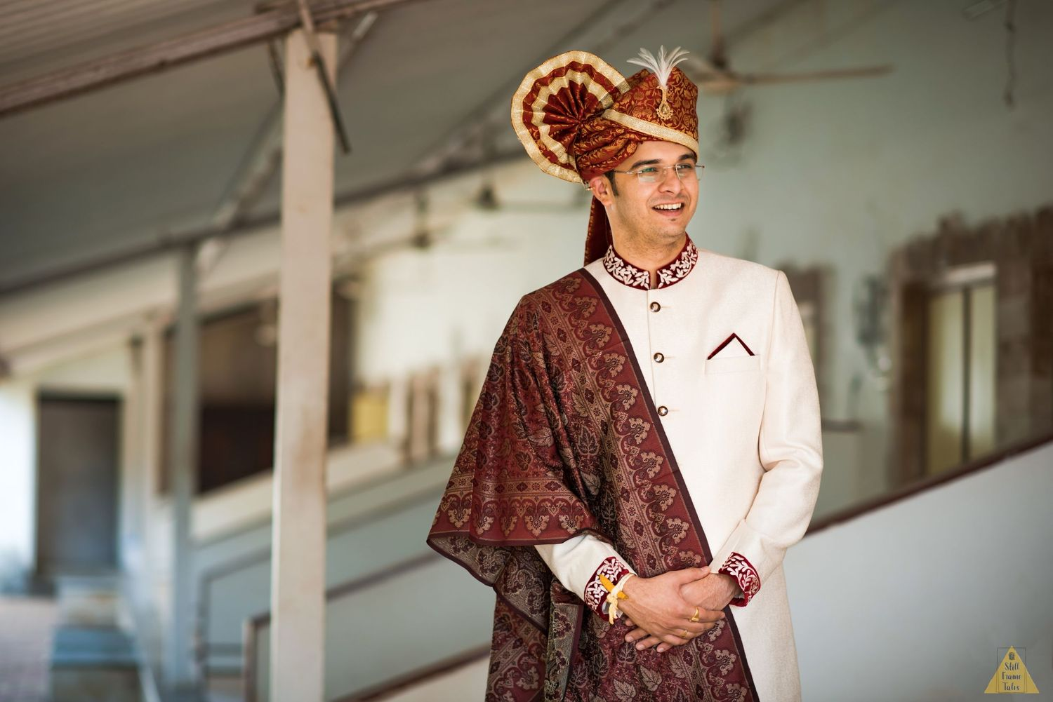 Groom wearing his wedding dress with pagadi at a destination wedding