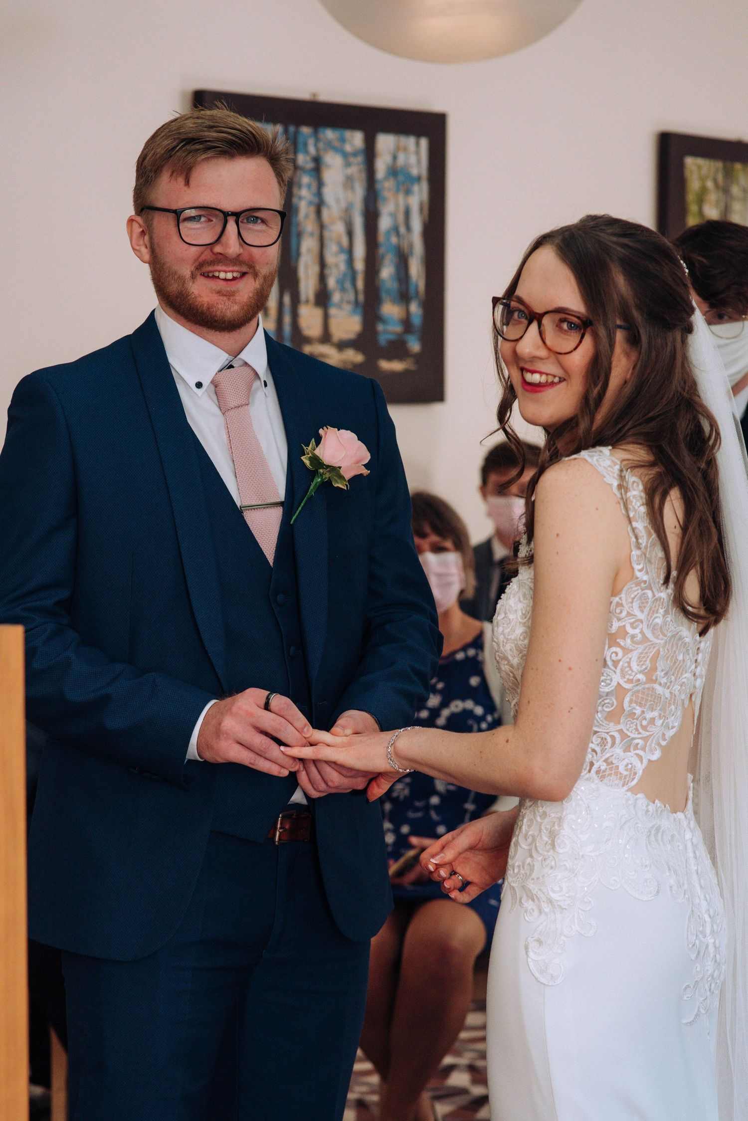 Swindon Registry office wedding by Zara Davis Photography, Gloucestershire exchanging rings