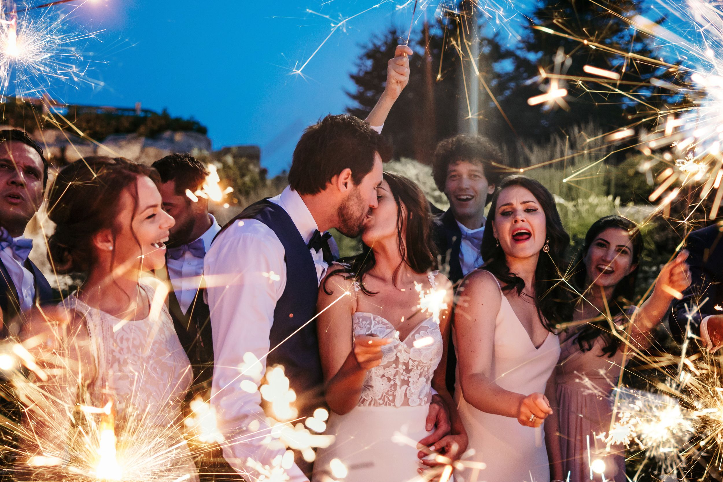 Whistle Bear Golf Club Sparkler Wedding Photos