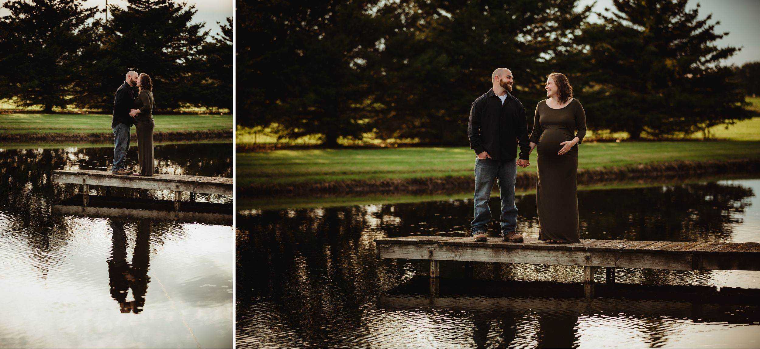 Pregnant woman and her husband standing on a dock together in a large pond.