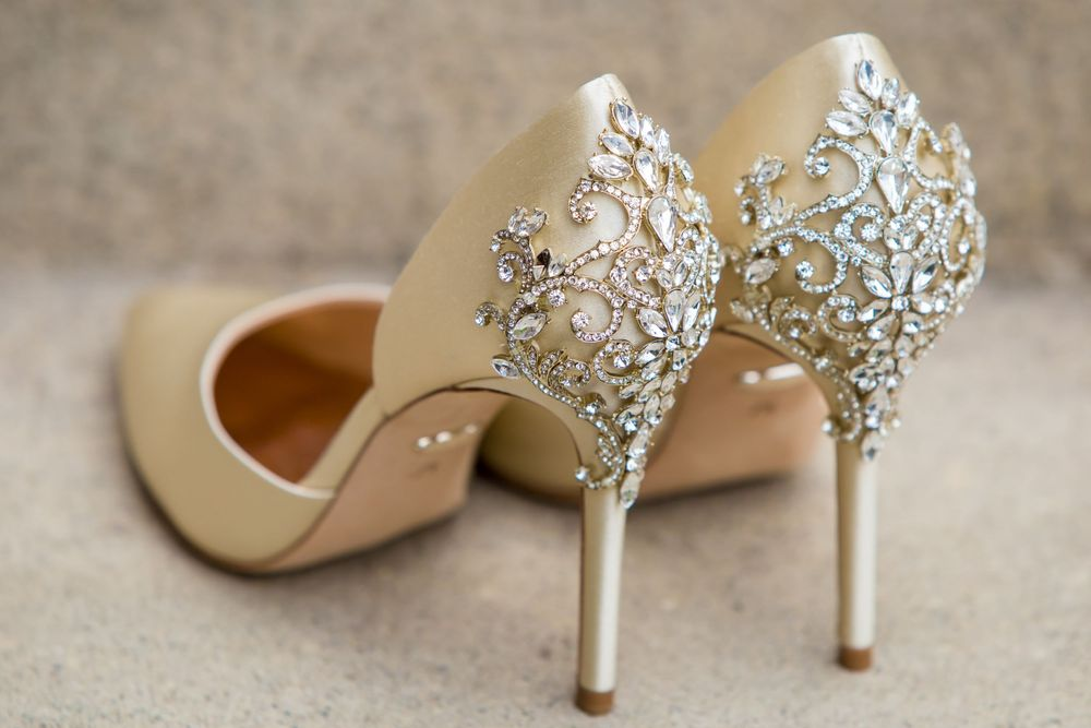 The bride's shoes before a wedding ceremony at Shandon Presbyterian Church in Columbia, SC