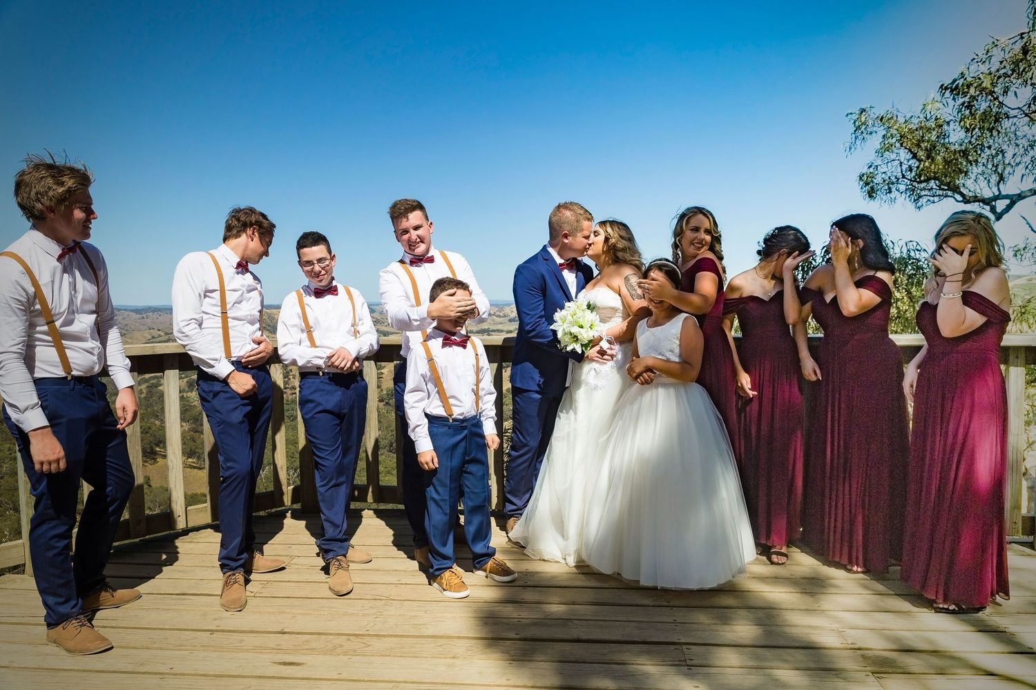 Wedding party country victoria fun wedding photo Intimate wedding photographer
