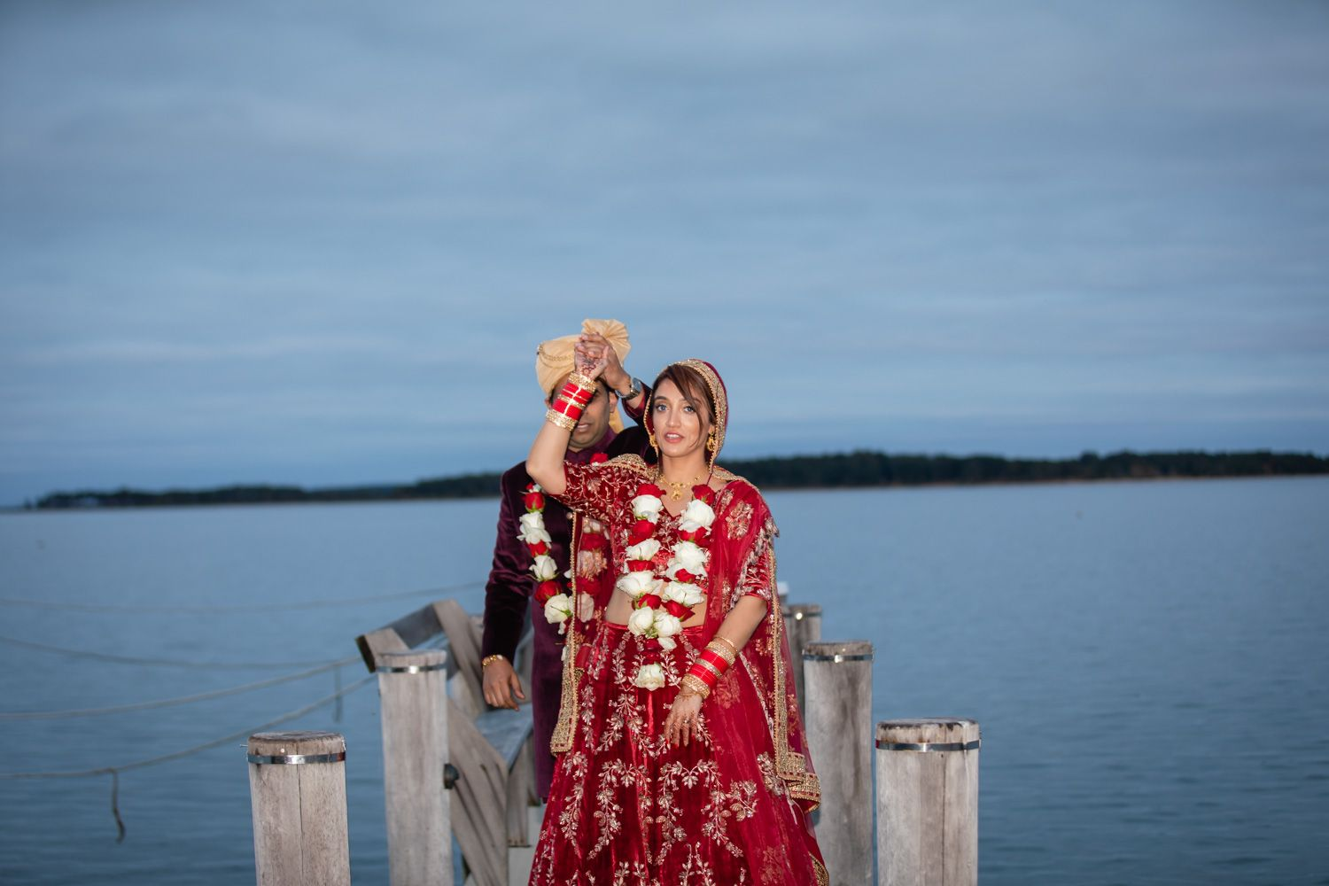 Indian Bride and Groom in a backyard wedding