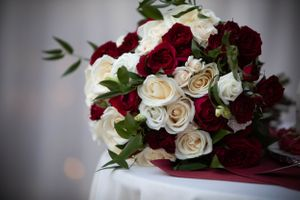 Close up of wedding bouquet.