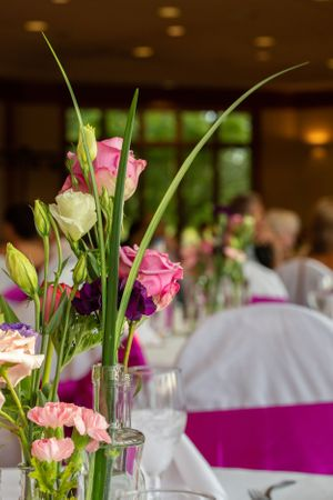 Flowers on a wedding table.