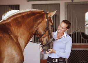 Dressage Trainer Melissa MacLaren Velix with Barrocco, Lusitano Stallion © Meg McGuire Photography