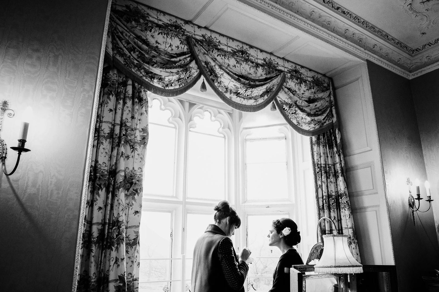 bride getting ready at Powderham Castle Devon wedding by photographer Elizabeth Armitage