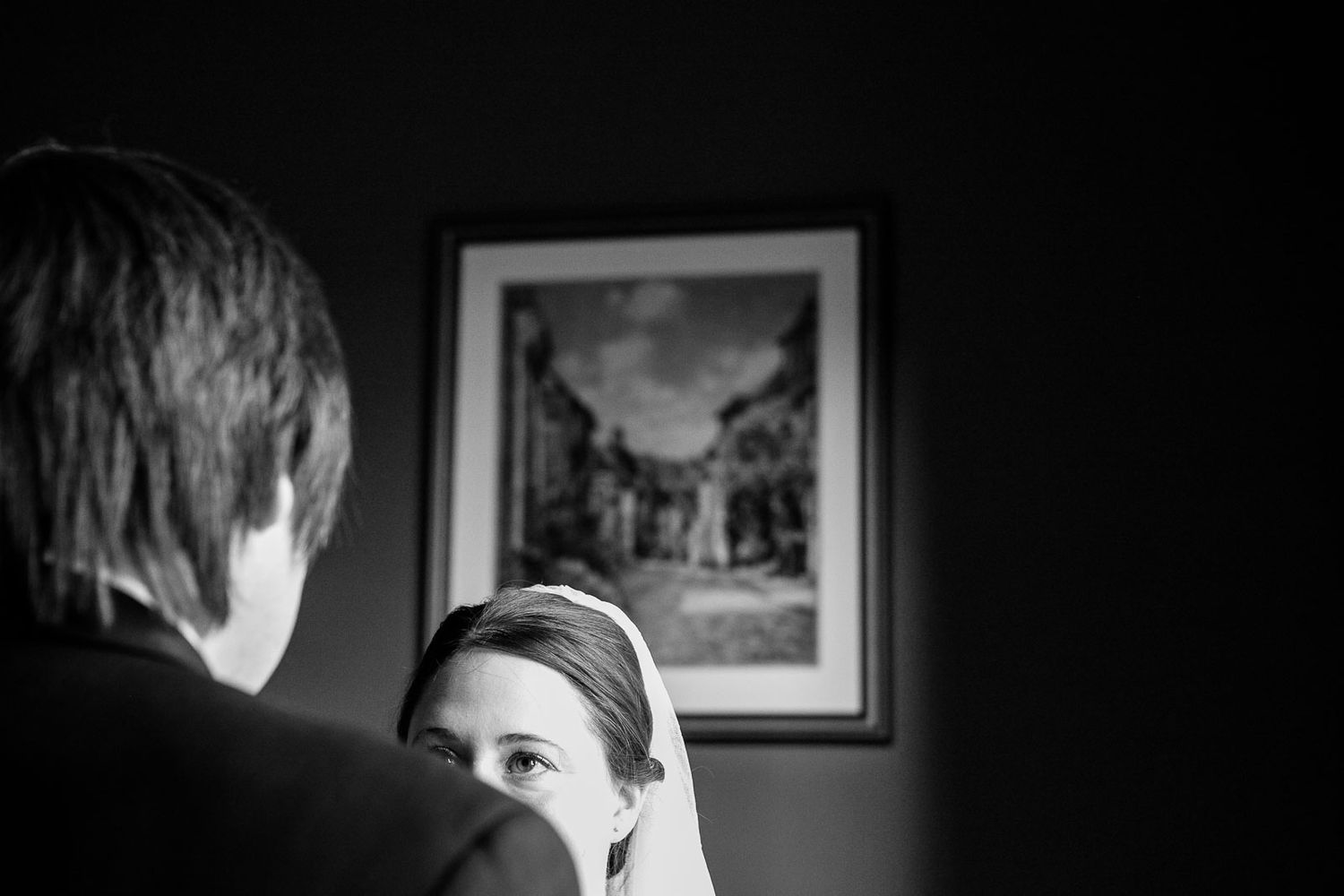 creative wedding photography at ceremony in Devon of bride saying her vows