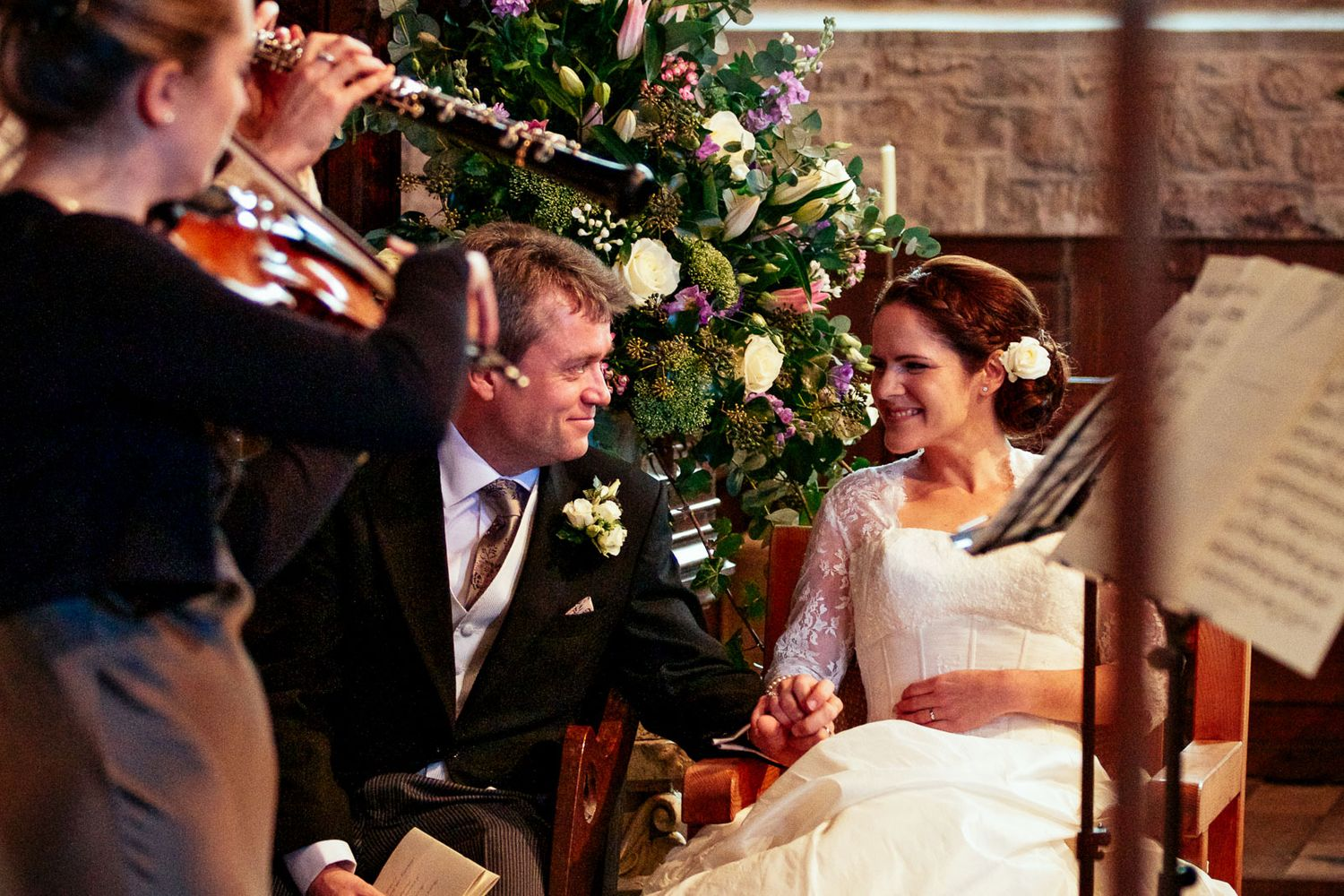 music filled wedding at Powderham church