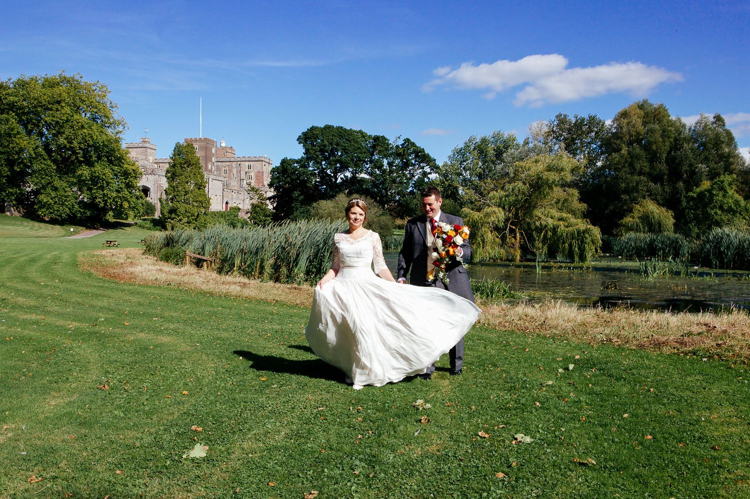 bride and groom at wedding at Powderham Castle Devon