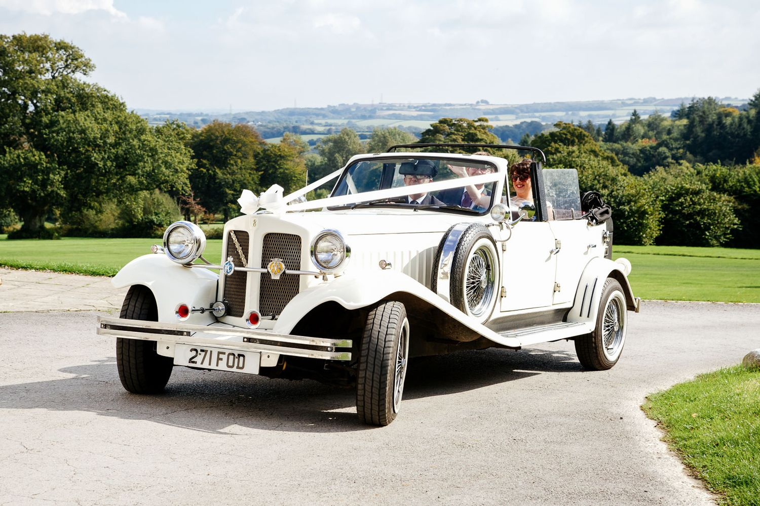 classic car at wedding in Devon