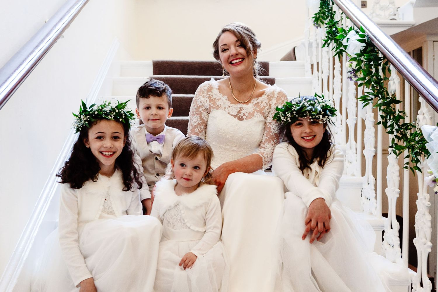 flowergirls and pageboy with bride at Reed Hall Devon wedding