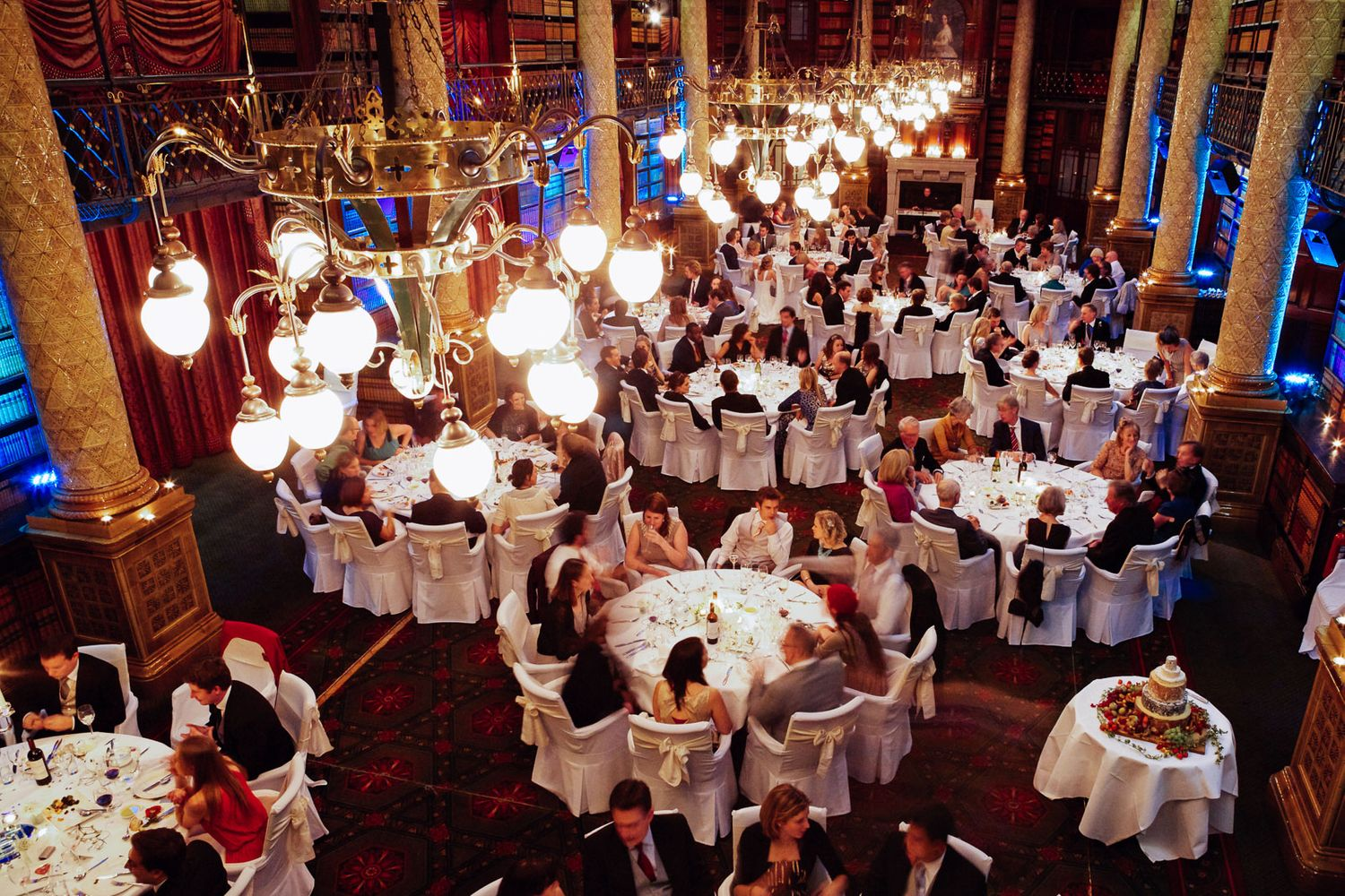 photograph looking over wedding breakfast at London winter wedding