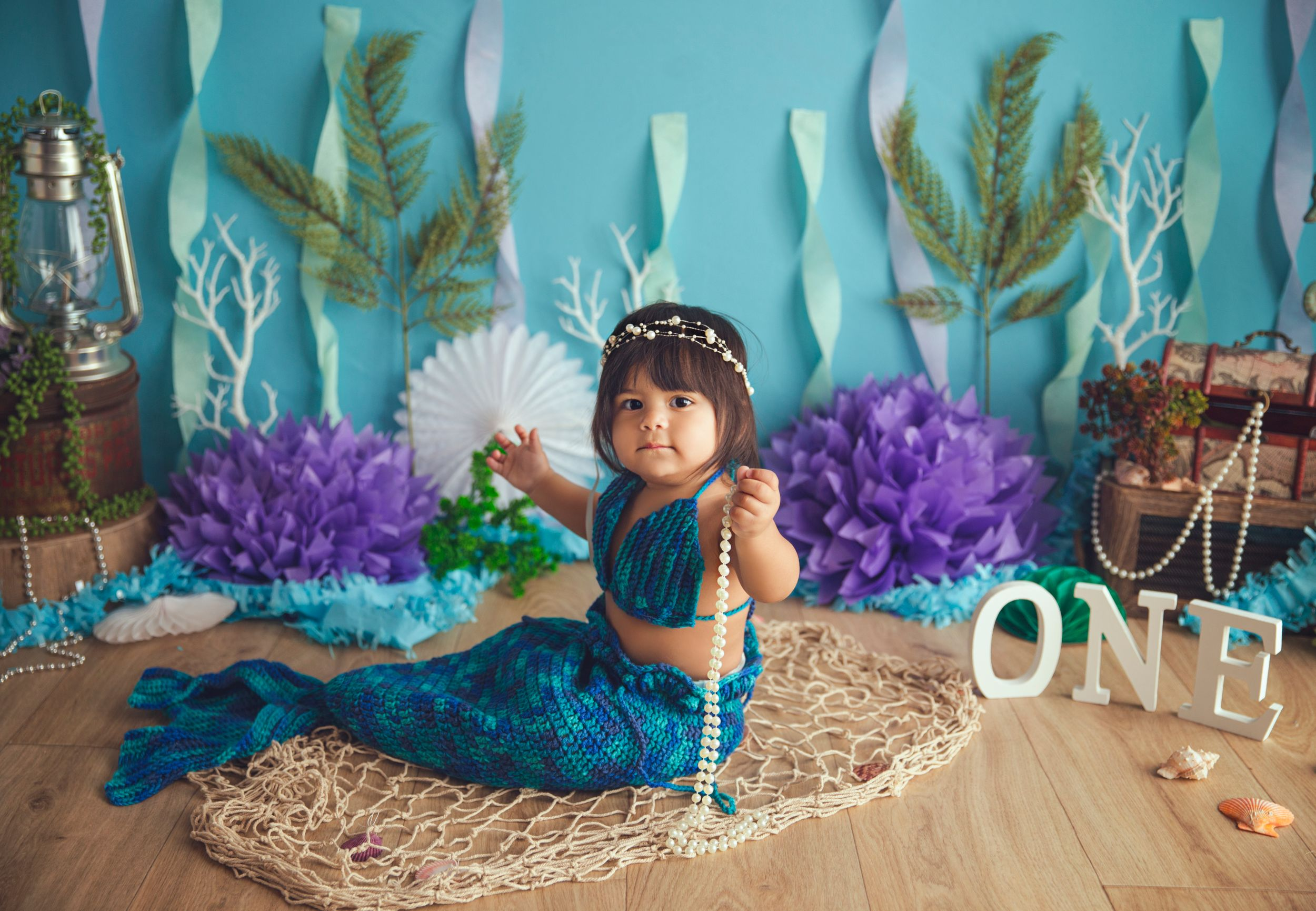 we found a mermaid in the studio baby girl one year old