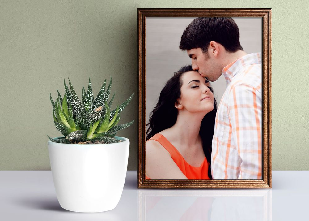 couple in frame on shelf with plant