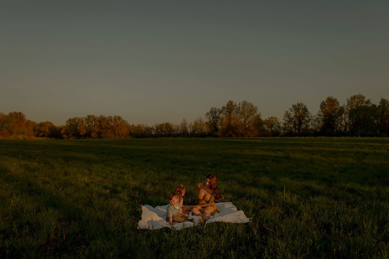 mom and kids sitting on blanket in a field