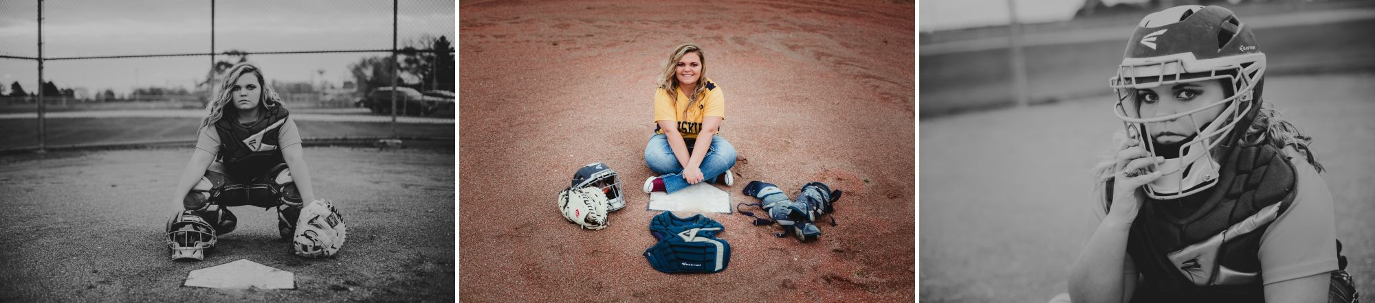 High school senior girl near the home plate of a softball field wearing catcher's gear.