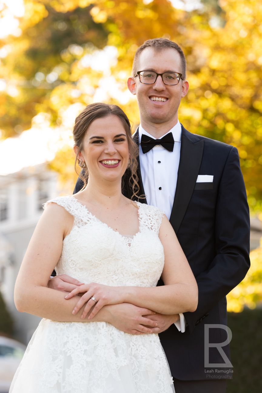 Leah Ramuglia Photography bride and groom fall foliage autumn wedding at home first look small ceremony newton boston ma