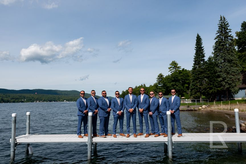 Leah Ramuglia Photography groomsmen on dock in Lake George, NY, New York destination wedding
