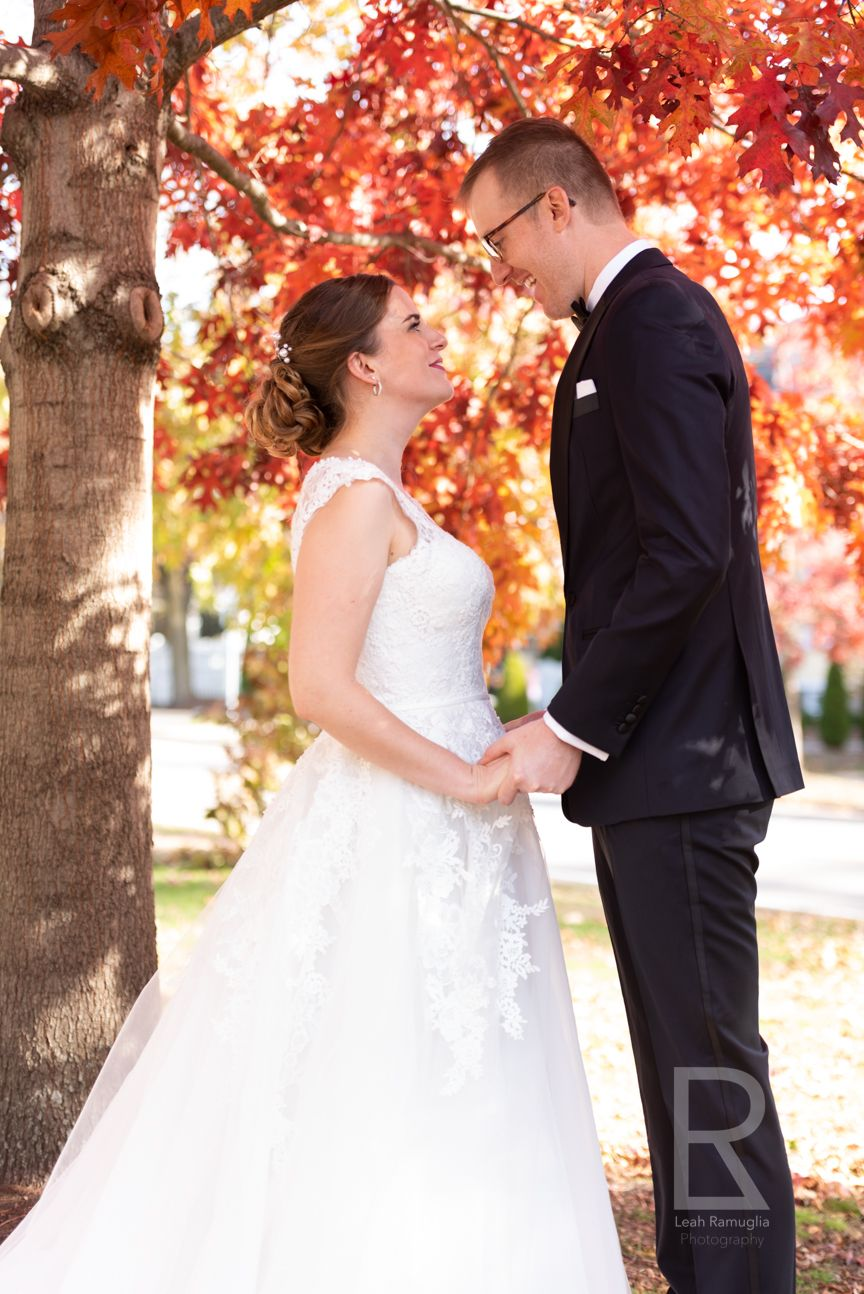 Leah Ramuglia Photography red leaves fall foliage autumn small micro wedding first look newton boston MA