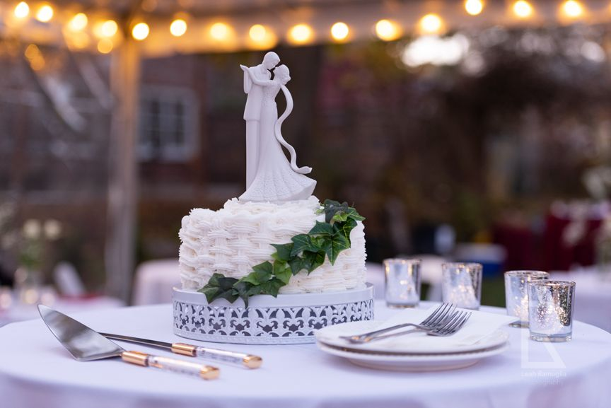 Leah Ramuglia Photography bride and groom wedding cake topper ceremony at home newton boston