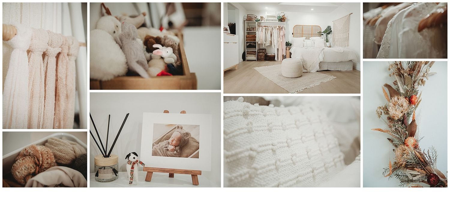 A collage of setups and beautifully sourced props available at Stacey Lake Photography's brand new studio