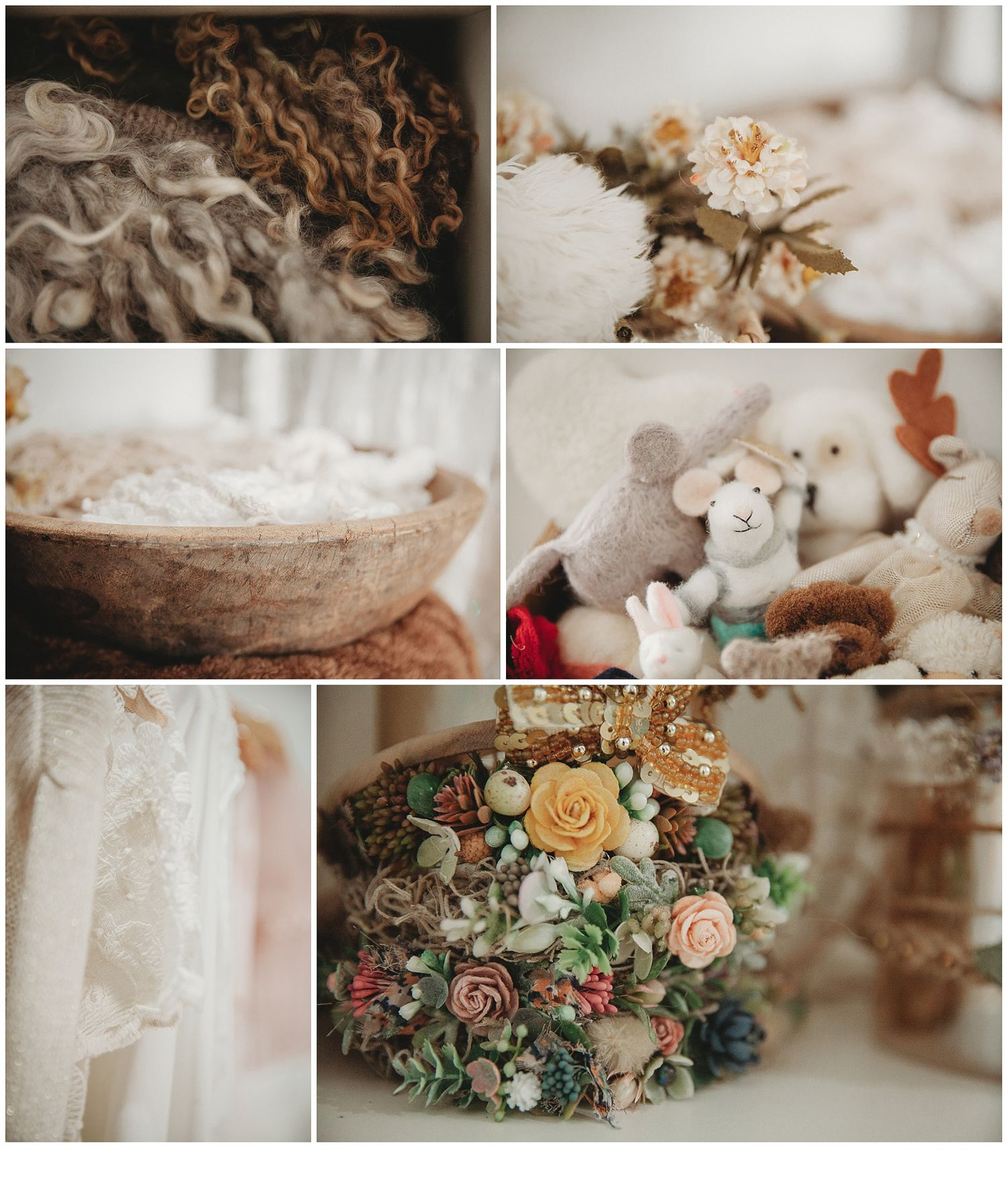 a collage of beautifully sourced headbands, wooly layers and props for Stacey Lake Photography