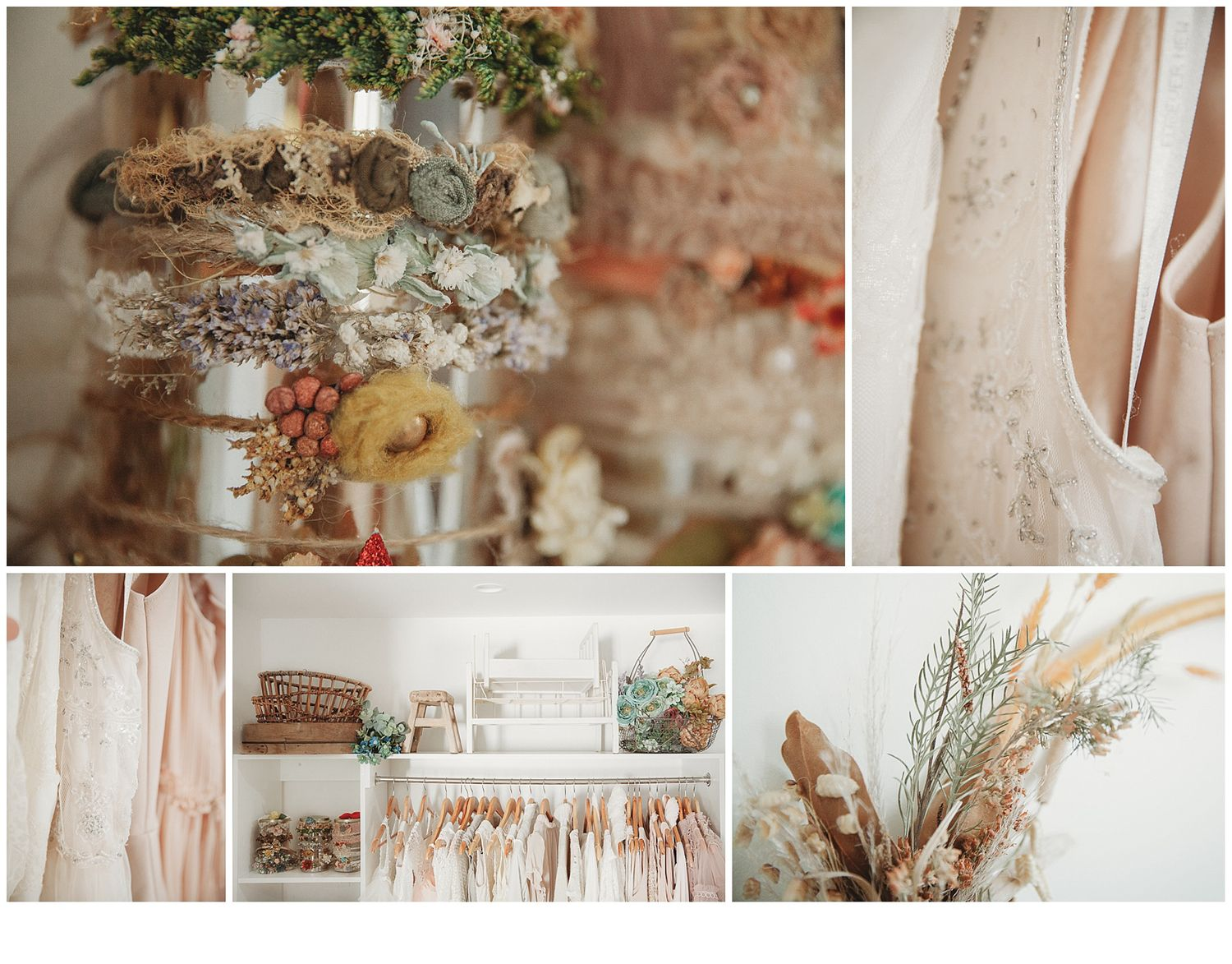 a collage of beautiful rustic props, earthy tones and beautifully selected pieces for her studio
