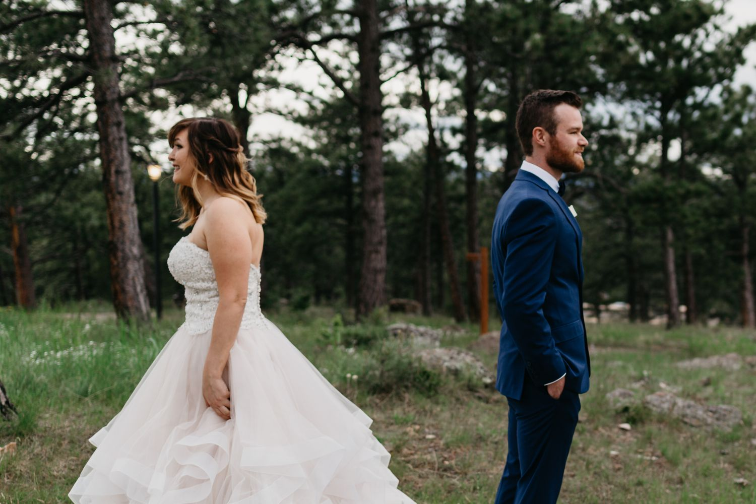 first look, tattooed bridge, alternative wedding, colorado, forest, mountains, beautiful, best colorado weddings