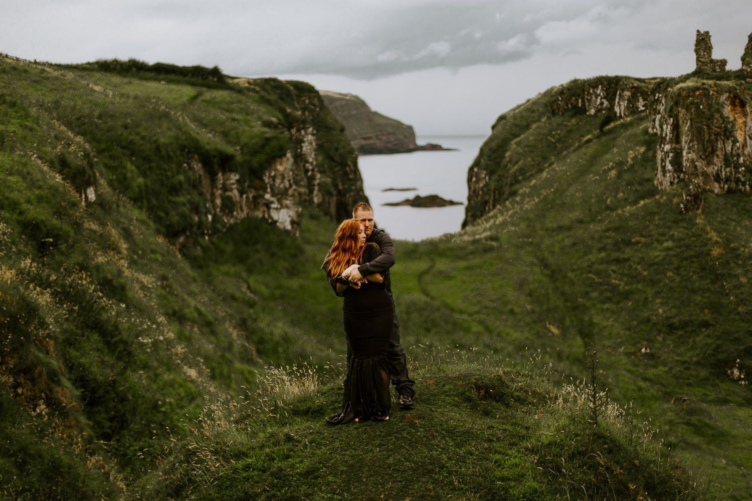 engagement photoshoot in Northern Ireland at Dunseverick Castle