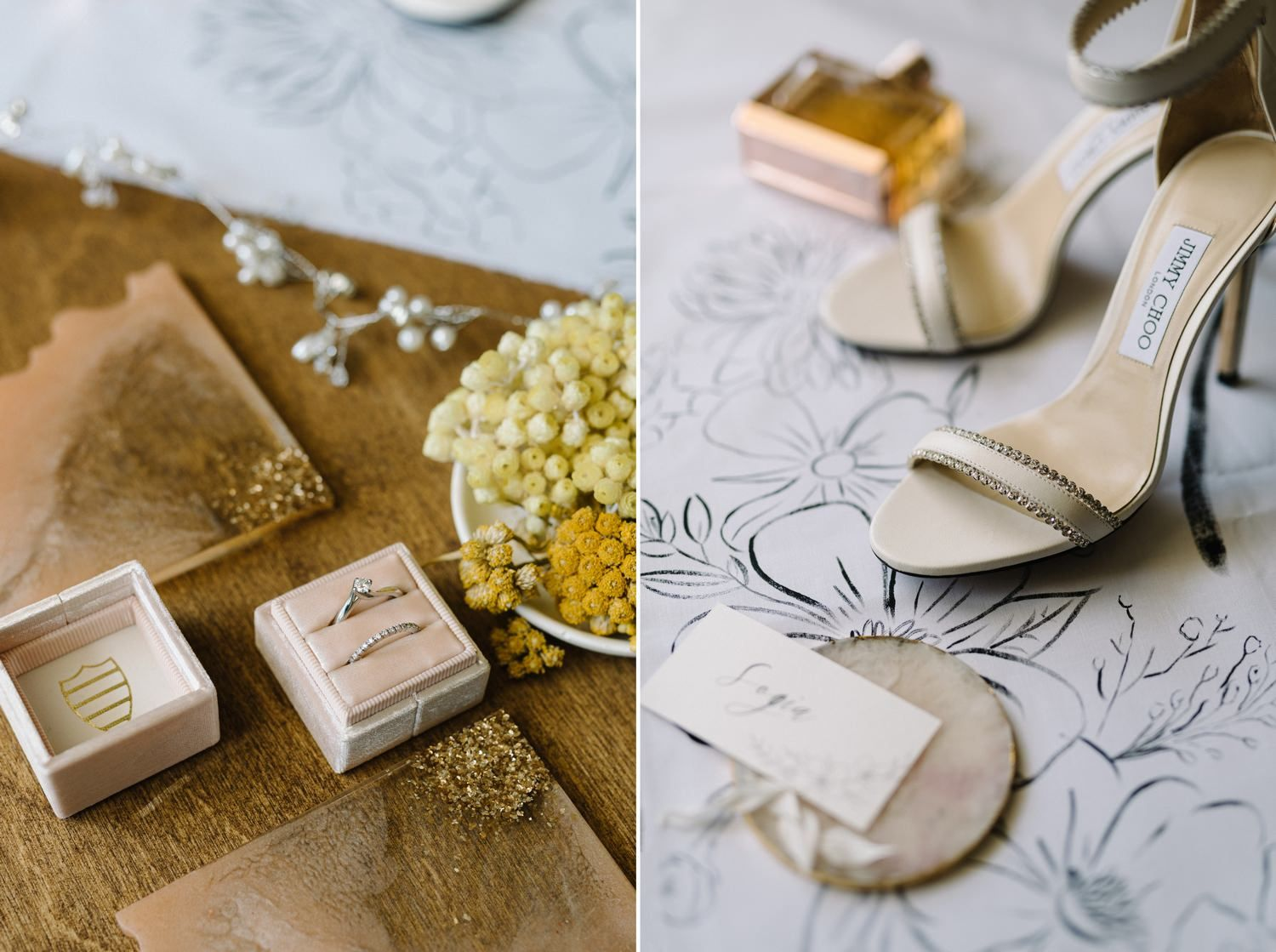wedding details of jimmy choo bridal shoes