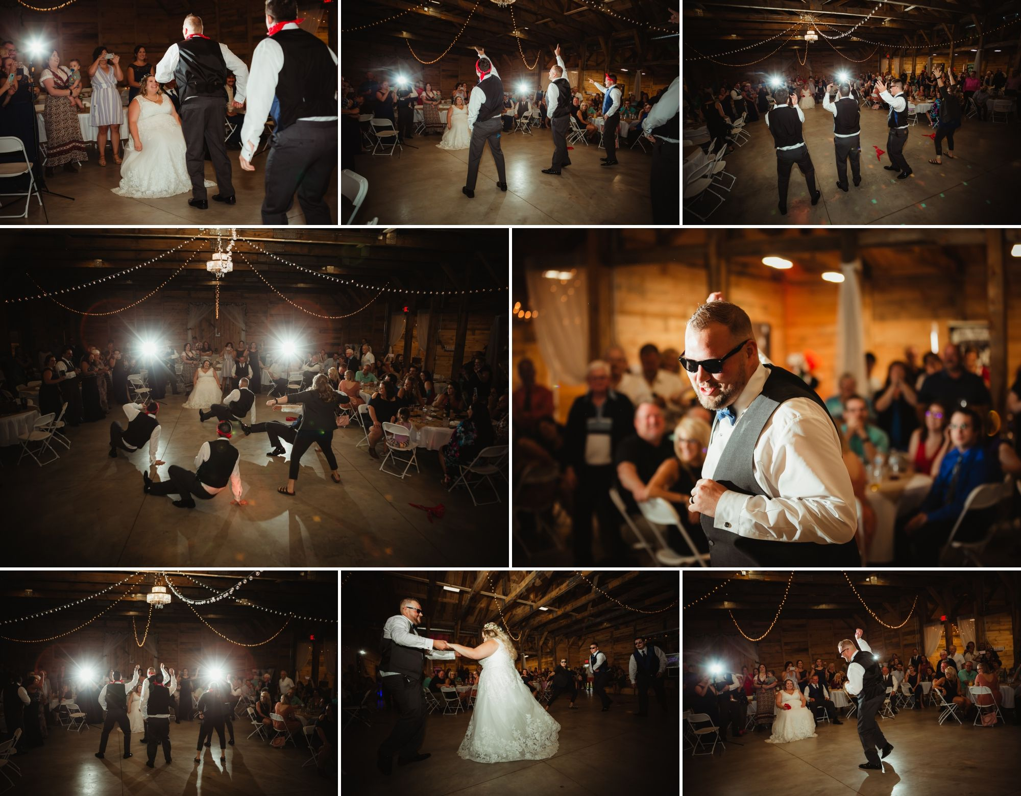 Collage of the groom, groomsmen, and groomswoman performing a funny dance around the bride in a chair.